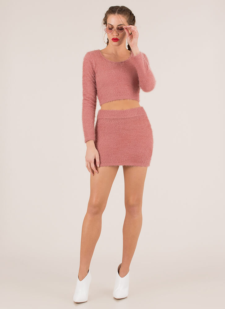 Fuzz-Worthy Knit Top And Skirt Set MAUVE