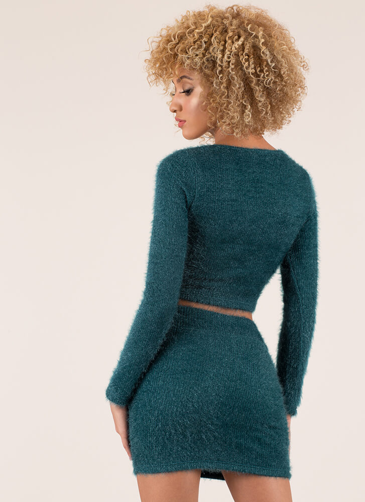 Fuzz-Worthy Knit Top And Skirt Set TEAL