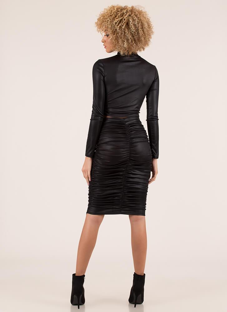 Shirring Is Caring Ruched 2-Piece Dress BLACK