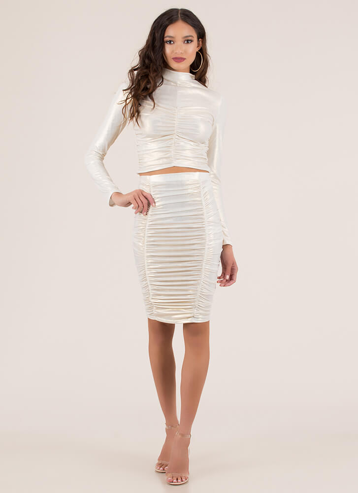 Shirring Is Caring Ruched 2-Piece Dress IVORY