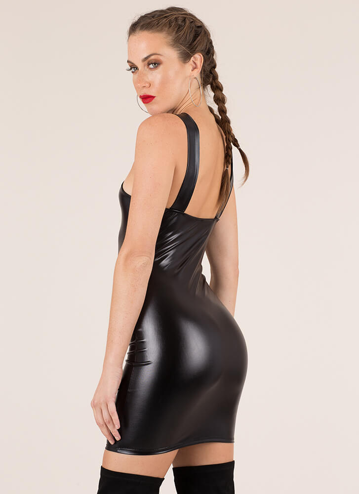 New Skin Knotted Faux Leather Dress BLACK
