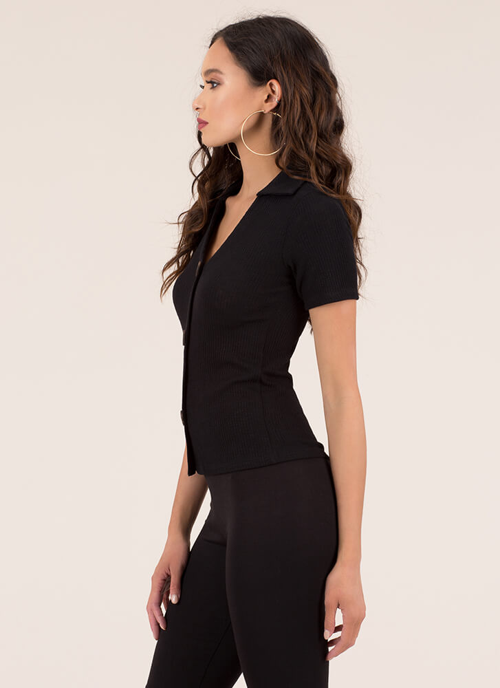 Button It Collared Rib Knit Top BLACK (You Saved $14)