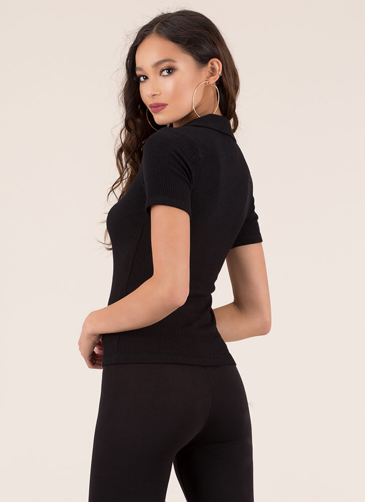 Button It Collared Rib Knit Top BLACK