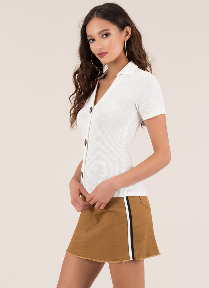 Button It Collared Rib Knit Top IVORY