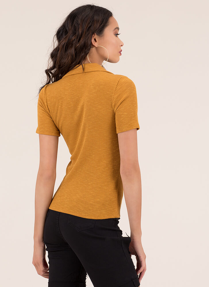 Button It Collared Rib Knit Top MUSTARD