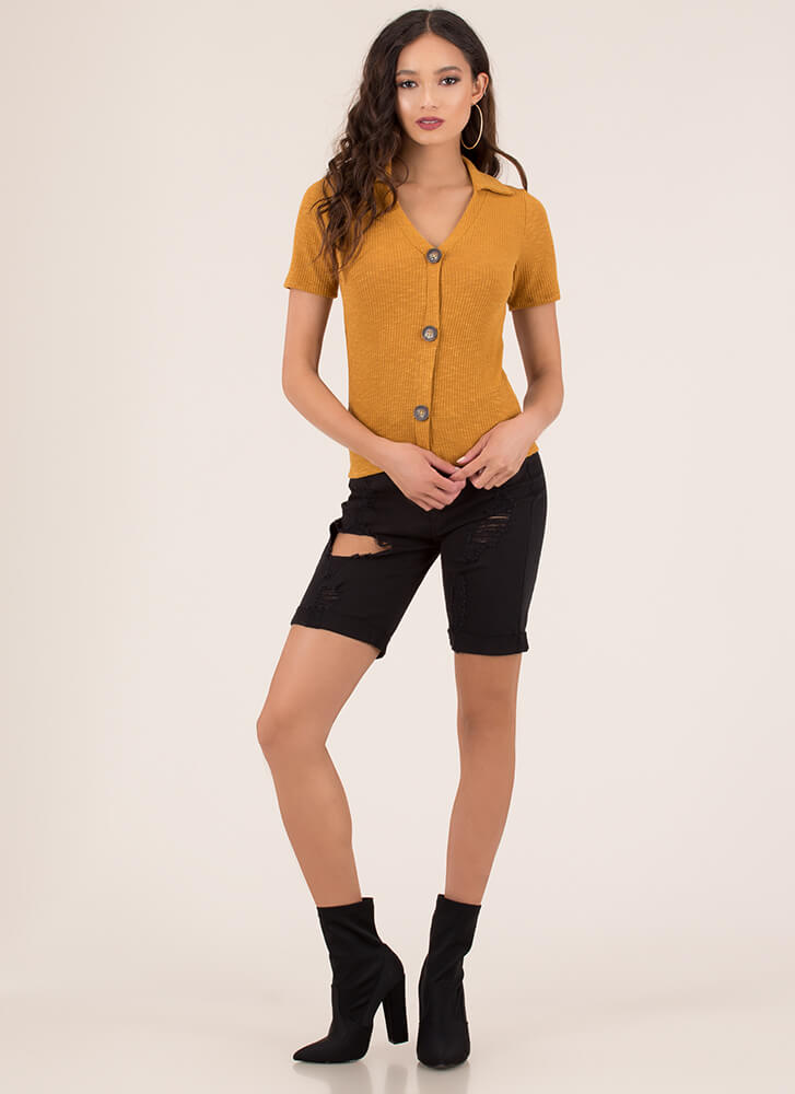 Button It Collared Rib Knit Top MUSTARD (You Saved $14)