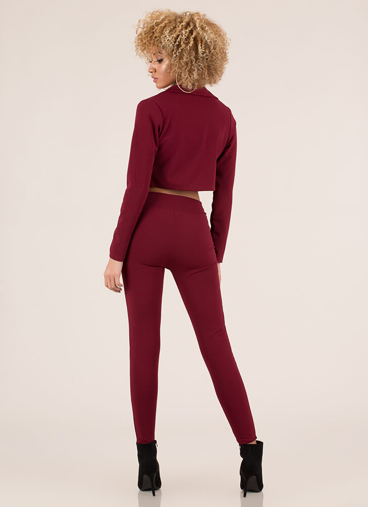 Suits You Perfectly Two-Piece Set BURGUNDY