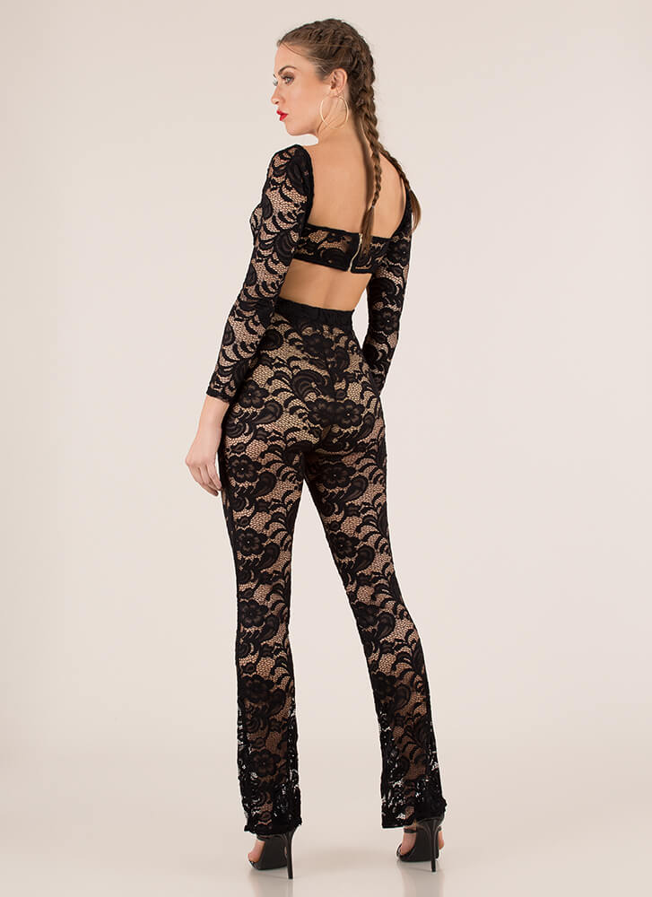 Nothing But Lace Top And Pant Set BLACK (You Saved $31)