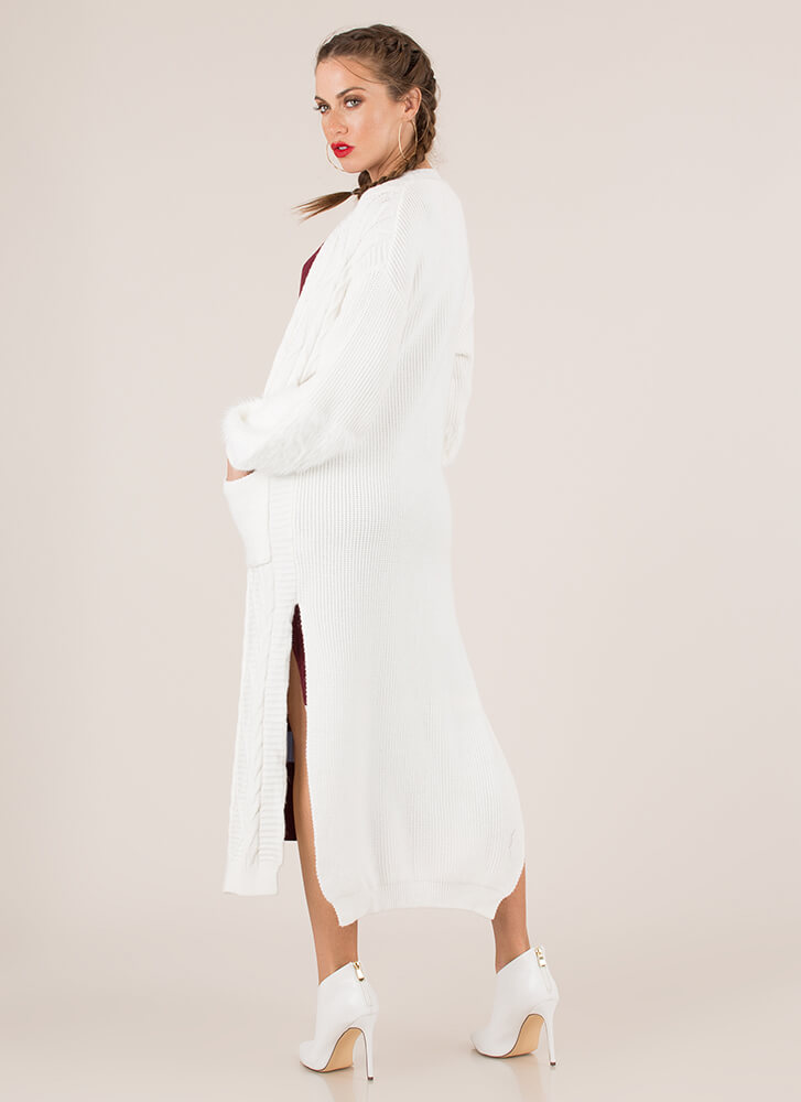 Soft And Warm Knit Duster Cardigan IVORY