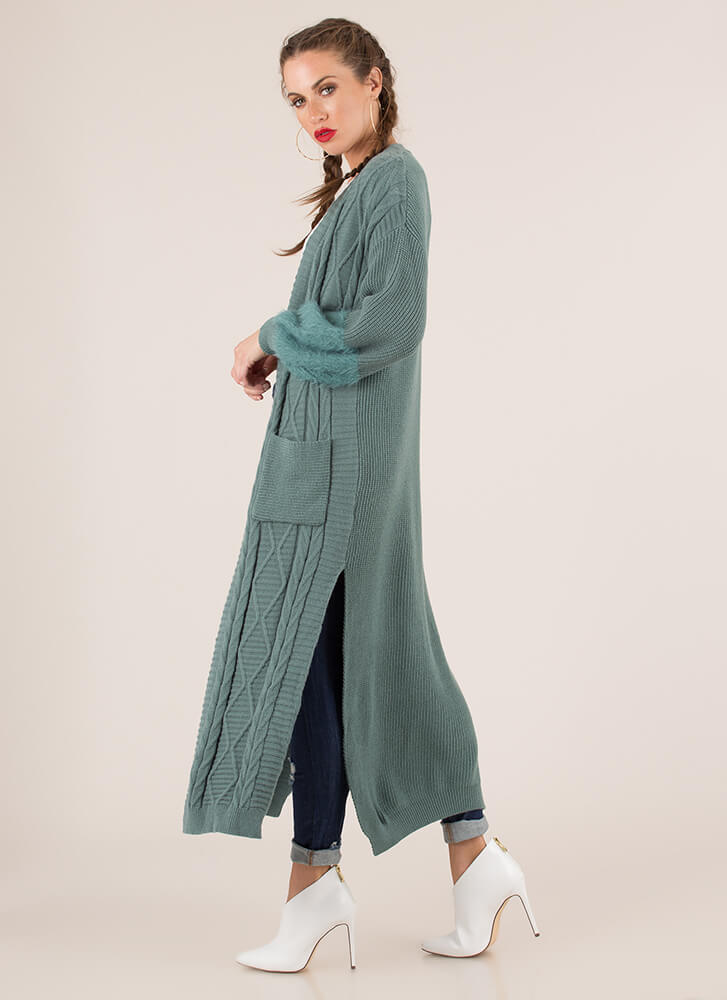 Soft And Warm Knit Duster Cardigan SAGE