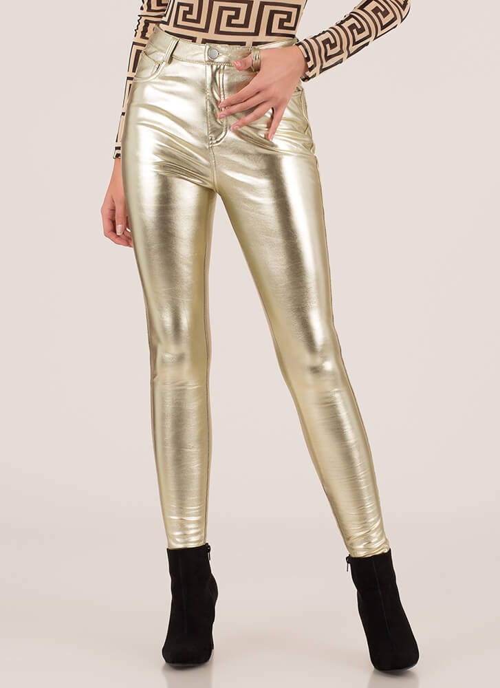 Shine On Metallic Faux Leather Pants GOLD (Final Sale)