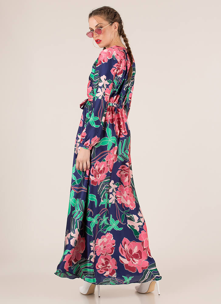 Tropical Dream Tied Floral Maxi Dress NAVYPINK