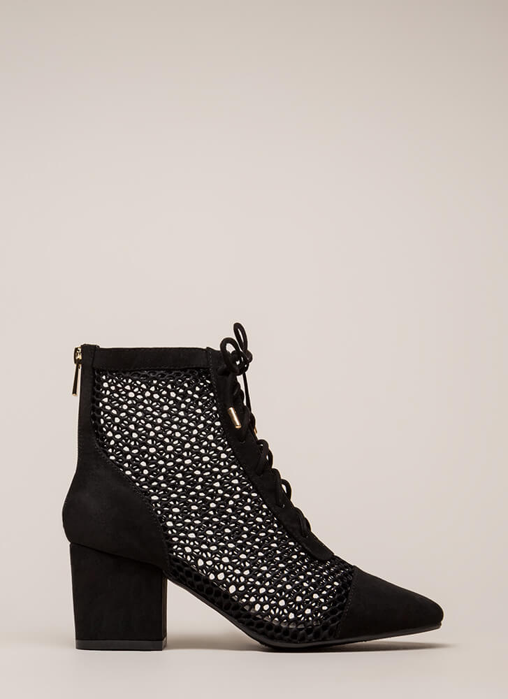 Holey Smokes Netted Block Heel Booties BLACK (Final Sale)