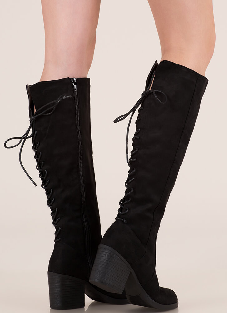 The Victor Lace-Back Faux Suede Boots BLACK