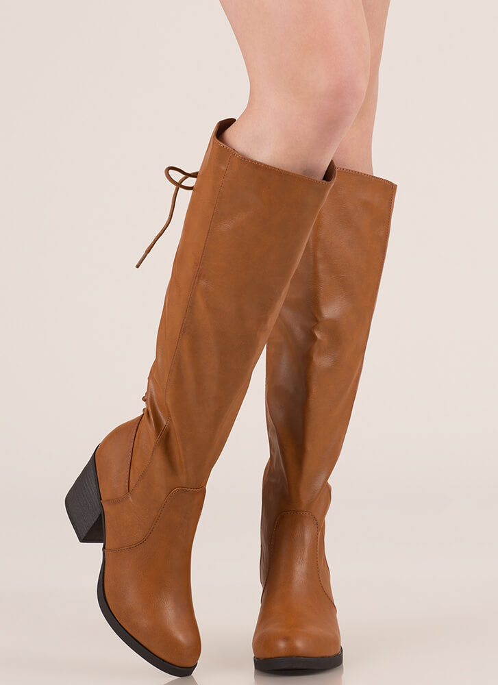 The Victor Lace-Back Faux Leather Boots CHESTNUT