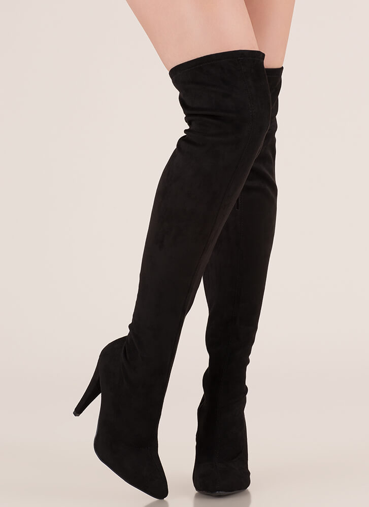 All Legs Faux Suede Thigh-High Boots BLACK