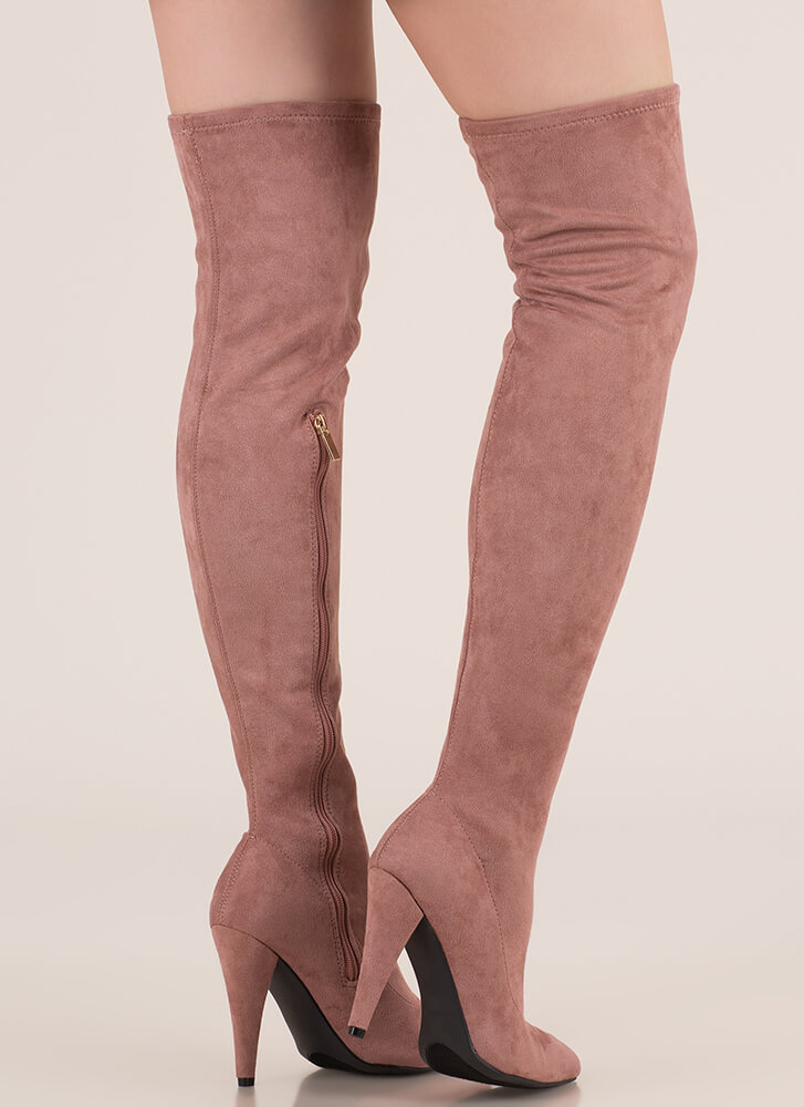 All Legs Faux Suede Thigh-High Boots DKBLUSH