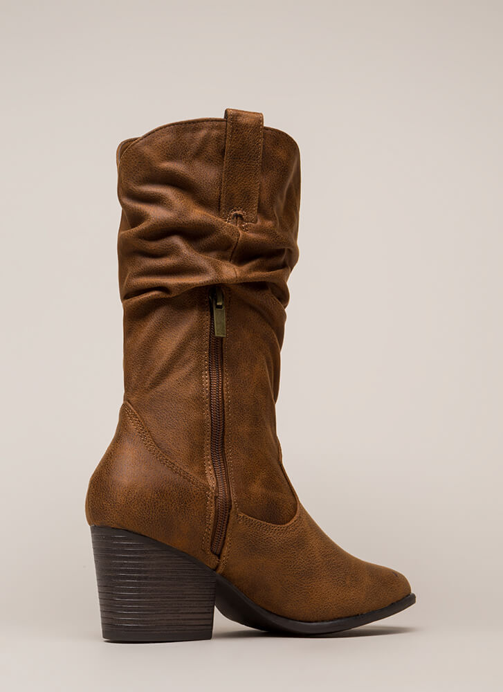 Cowgirl Dreams Slouchy Block Heel Boots CHESTNUT