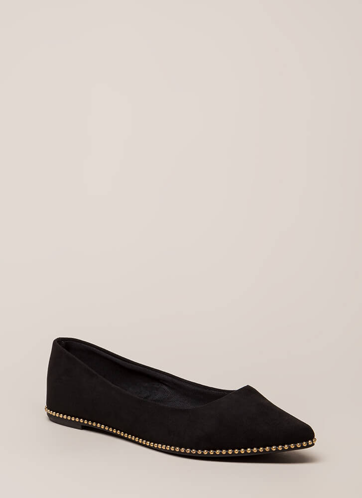 All The Trimmings Studded Flats BLACK