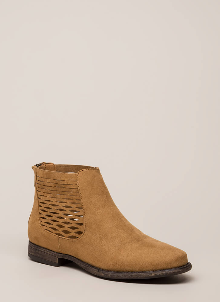 Feeling So Wavy Latticed Booties TAN
