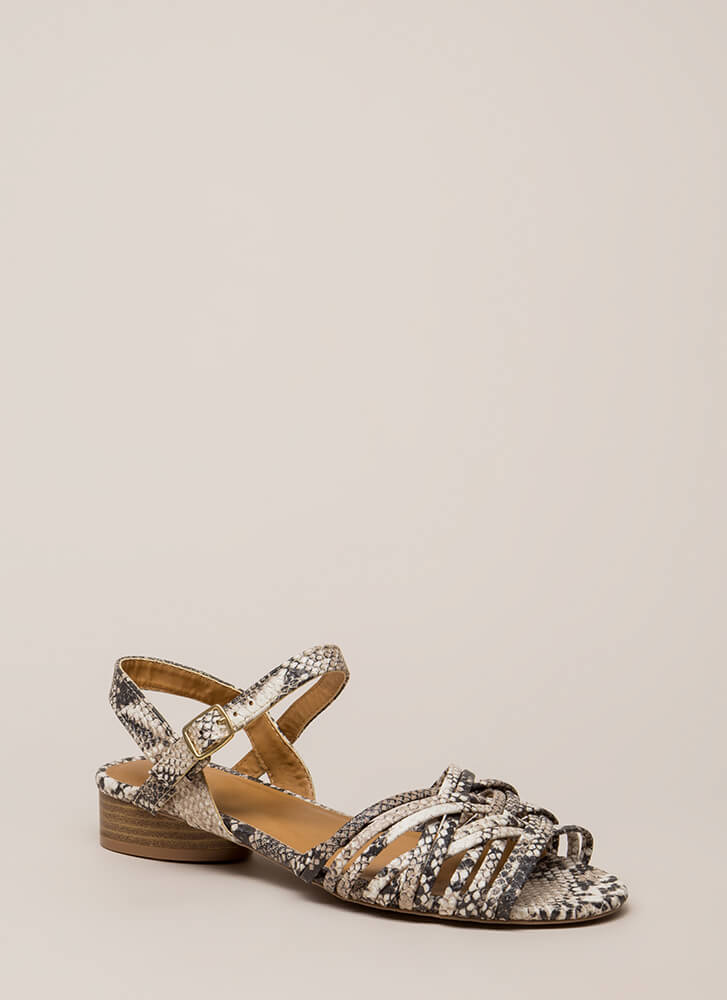 Scale Back Strappy Faux Snake Sandals BEIGEBROWN