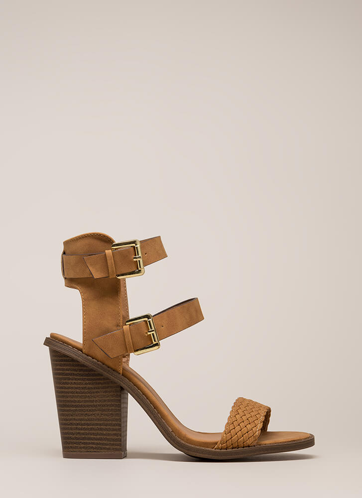 Double Trouble Woven Chunky Heels CAMEL