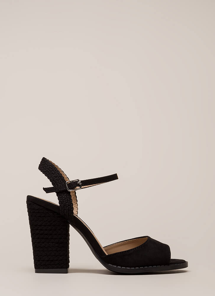 Braidy Bunch Chunky Peep-Toe Heels BLACK