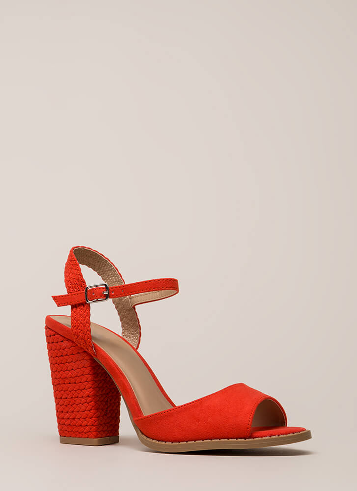 Braidy Bunch Chunky Peep-Toe Heels BLOODORANGE