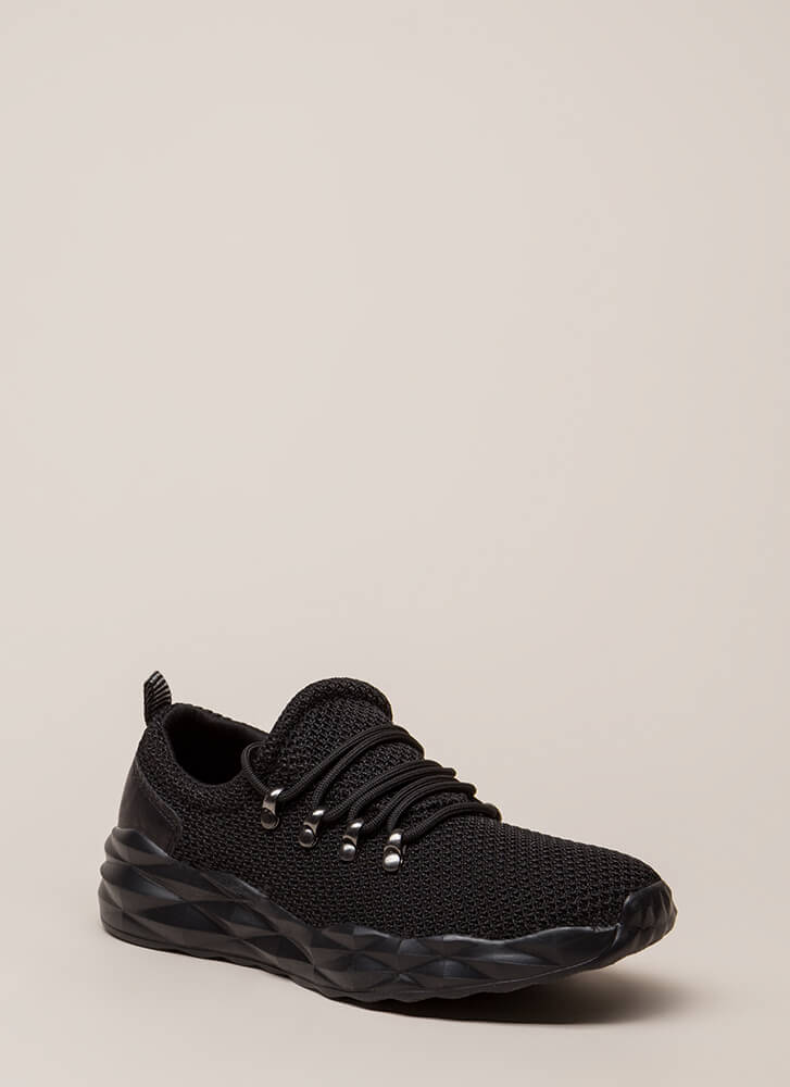 New Dimensions Knit Platform Sneakers BLACK