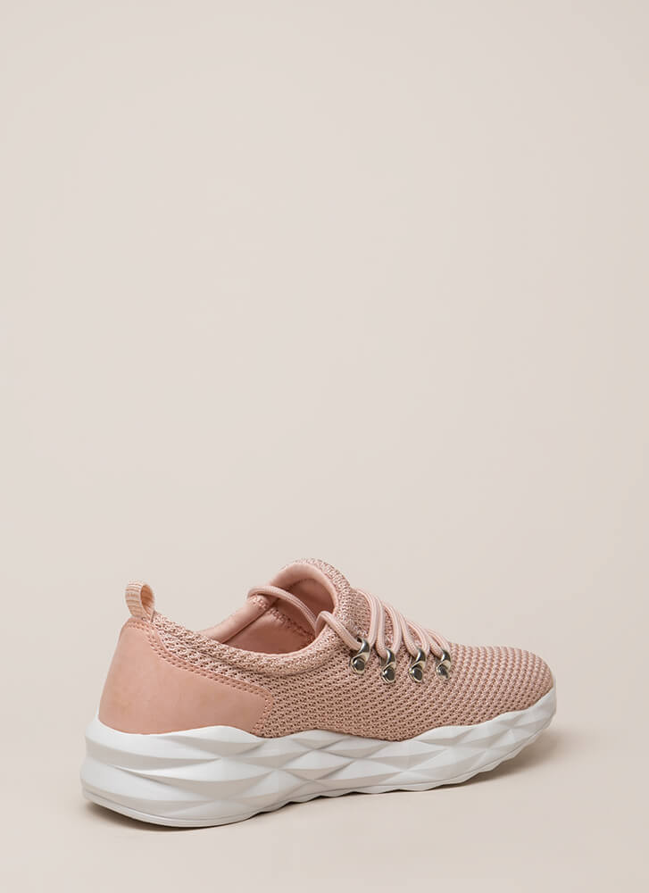 New Dimensions Knit Platform Sneakers NUDE