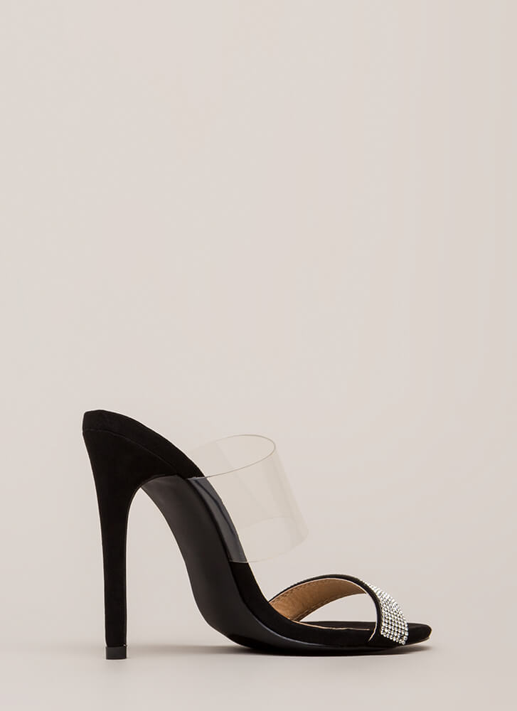 Clearly Sparkly Jeweled Faux Suede Heels BLACK