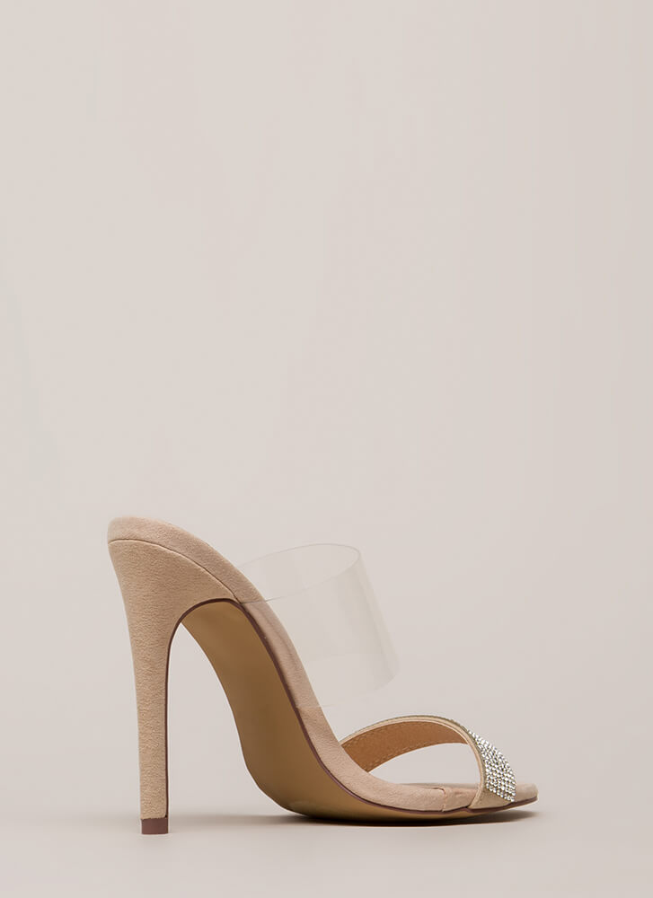 Clearly Sparkly Jeweled Faux Suede Heels NUDE