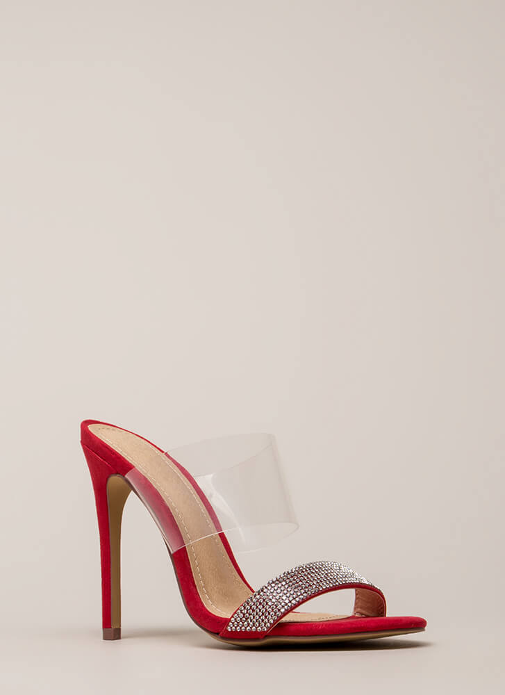 Clearly Sparkly Jeweled Faux Suede Heels RED