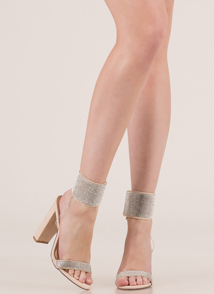 Cuff 'Em Rhinestone Illusion Heels NUDE (Final Sale)