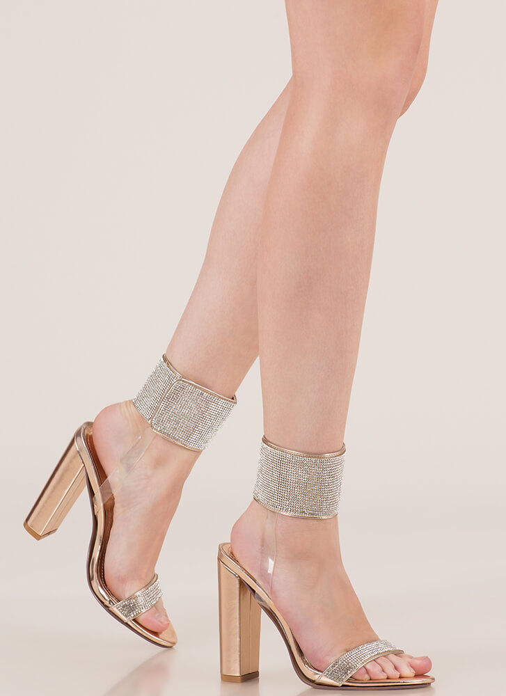Cuff 'Em Rhinestone Illusion Heels ROSEGOLD (Final Sale)