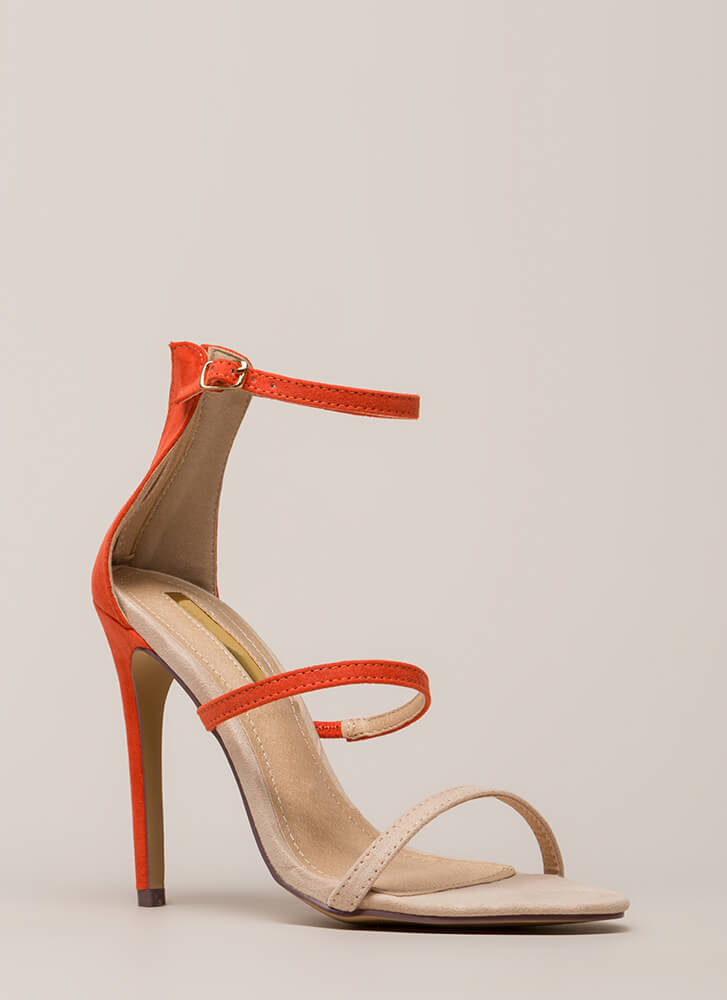 I Can't Choose Strappy Two-Toned Heels ORANGE