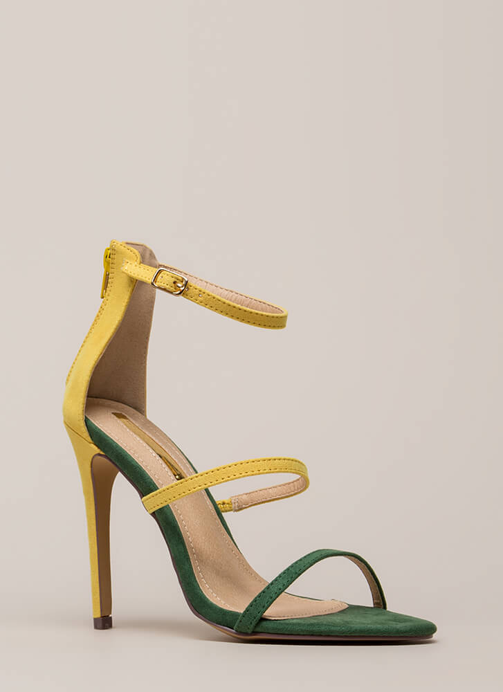 I Can't Choose Strappy Two-Toned Heels YELLOW (Final Sale)
