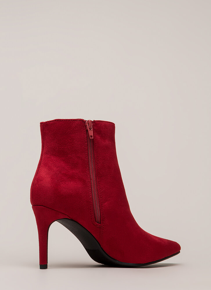 Success Rate Pointy Faux Suede Booties BRIGHTRED