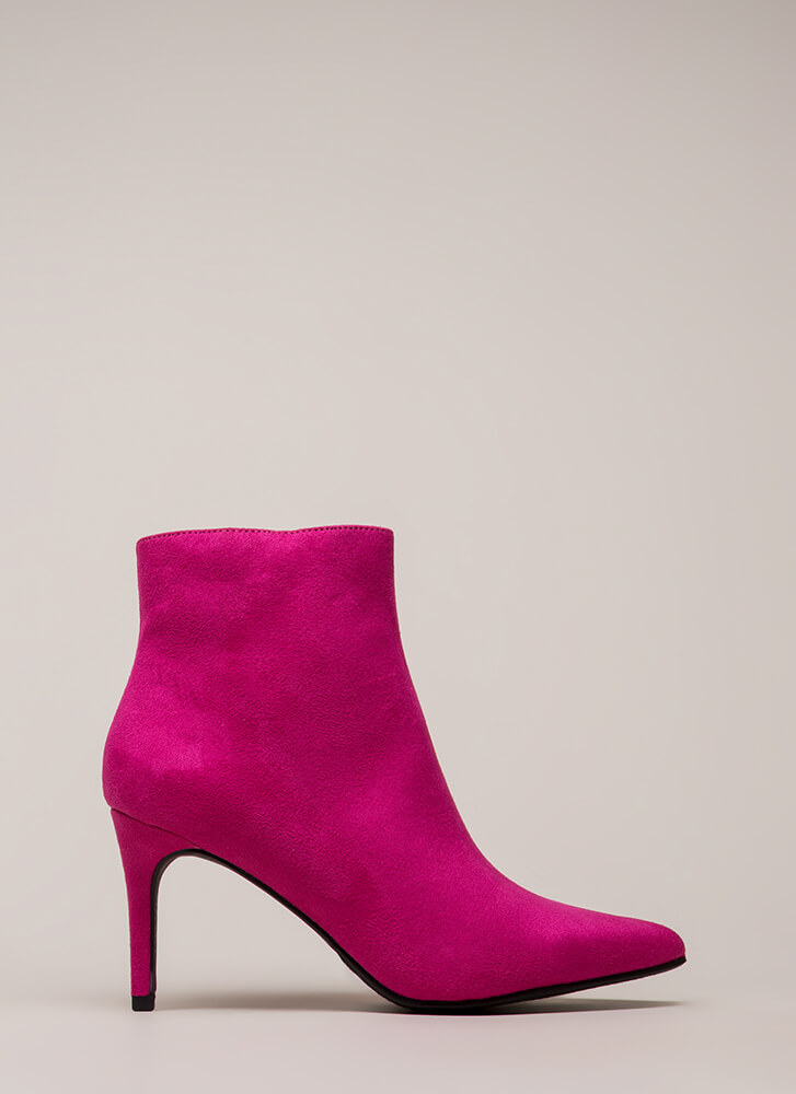 Success Rate Pointy Faux Suede Booties HOTPINK