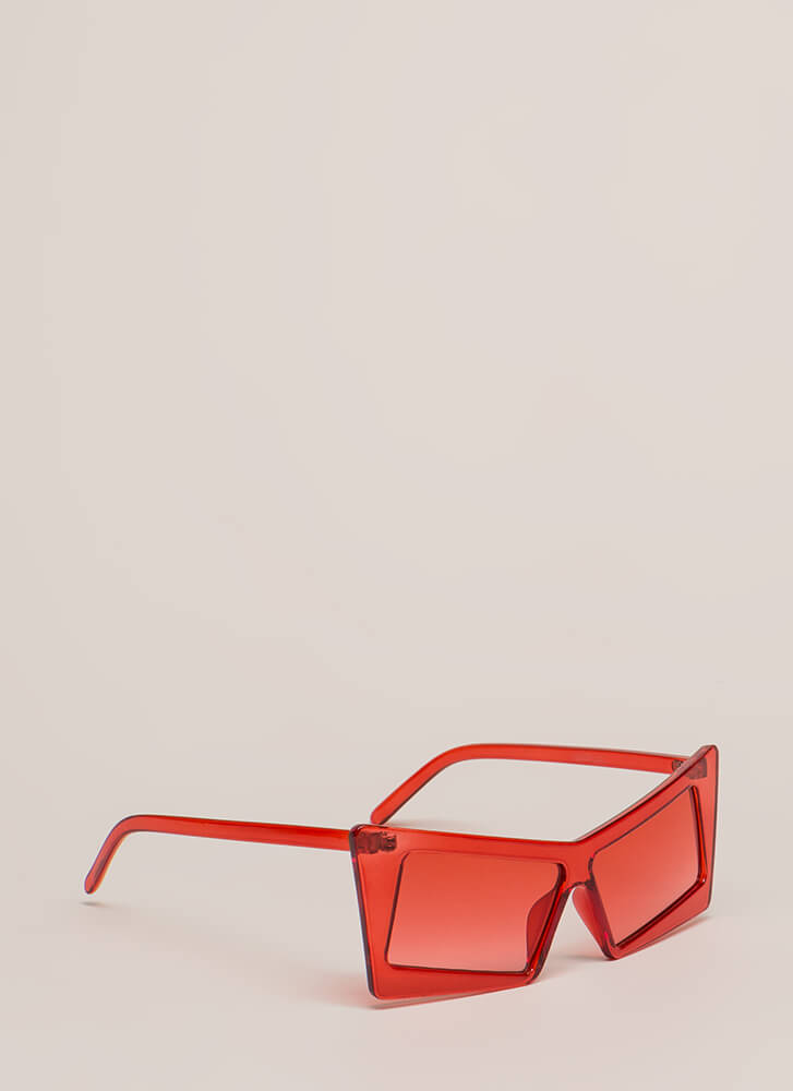 Movie Magic Clear Squared Sunglasses RED