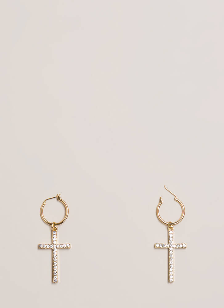 Cross Examine Sparkly Hoop Earrings GOLD
