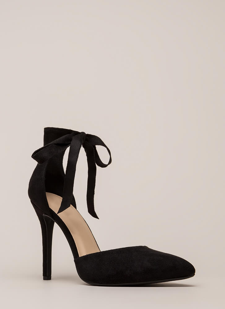 To Tie For Pointy Faux Suede Heels BLACK
