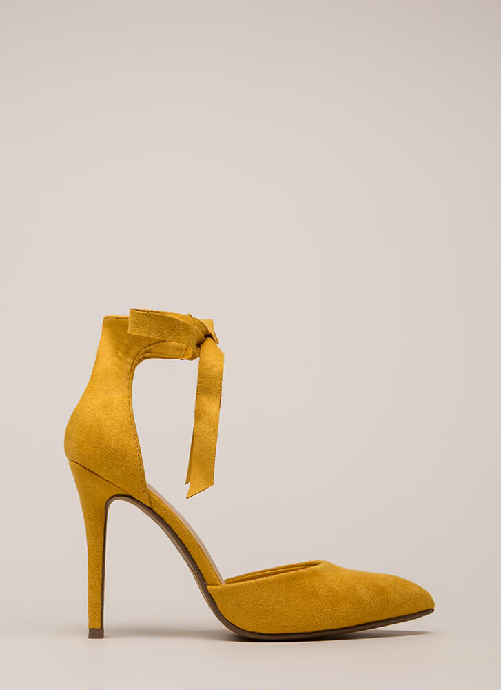 To Tie For Pointy Faux Suede Heels MUSTARD