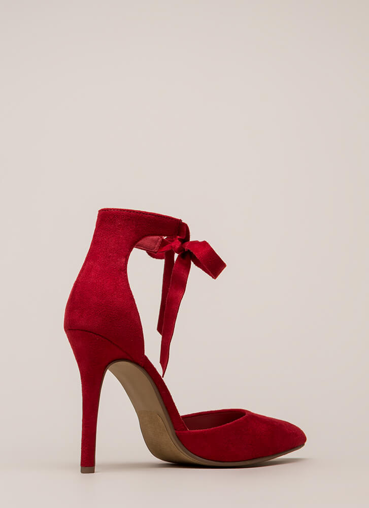 To Tie For Pointy Vegan Suede Heels BRIGHTRED