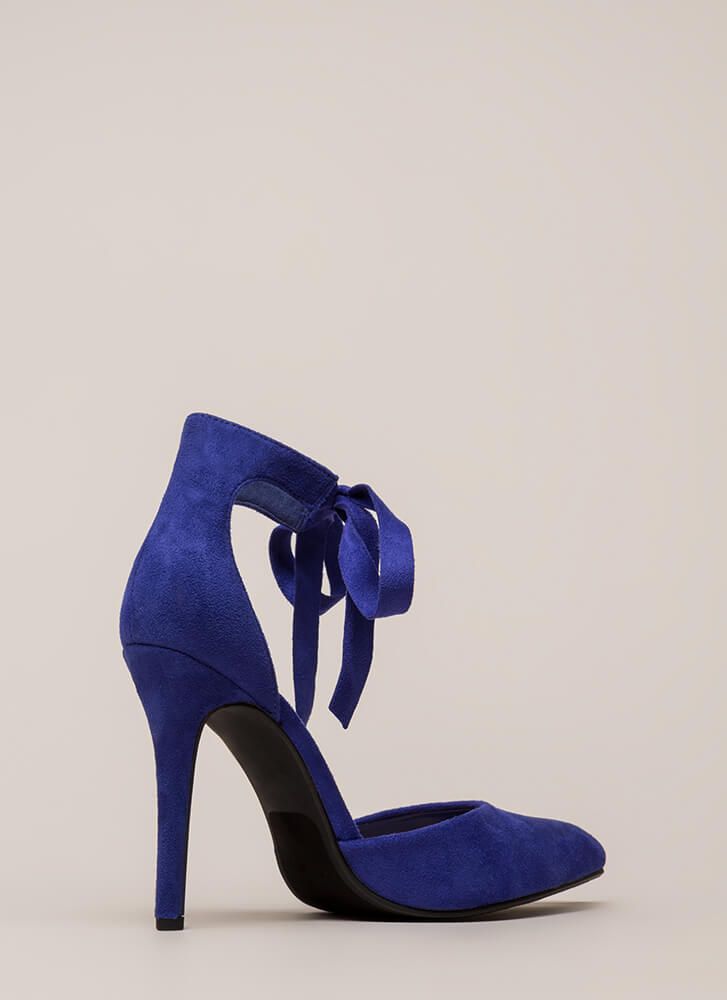 To Tie For Pointy Vegan Suede Heels ELECTRICBLUE