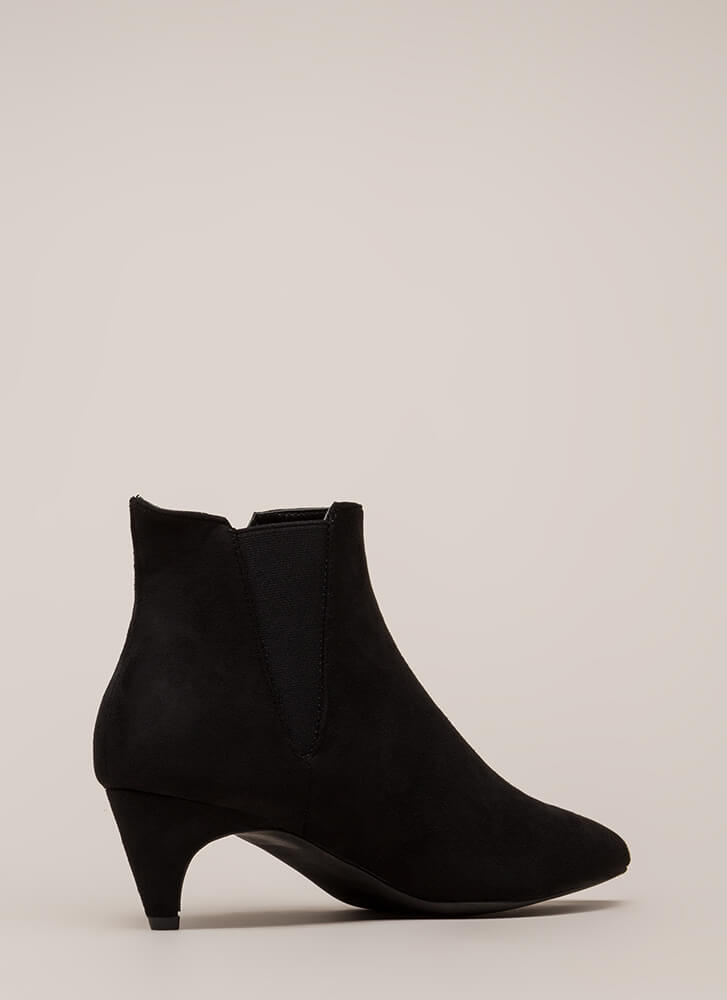 Keep It Short Pointy Kitten Heel Booties BLACK