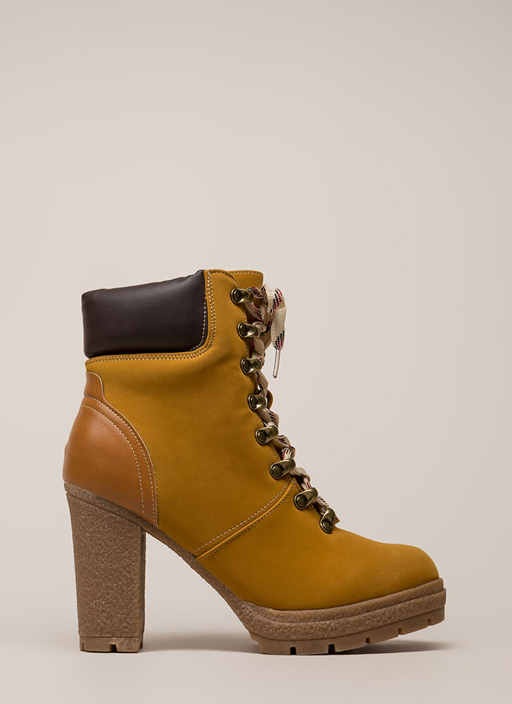 Putting In Work Lug Sole Booties CAMEL (Final Sale)