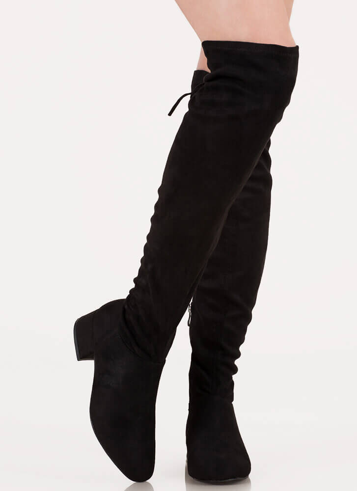 Laced It Block Heel Thigh-High Boots BLACK