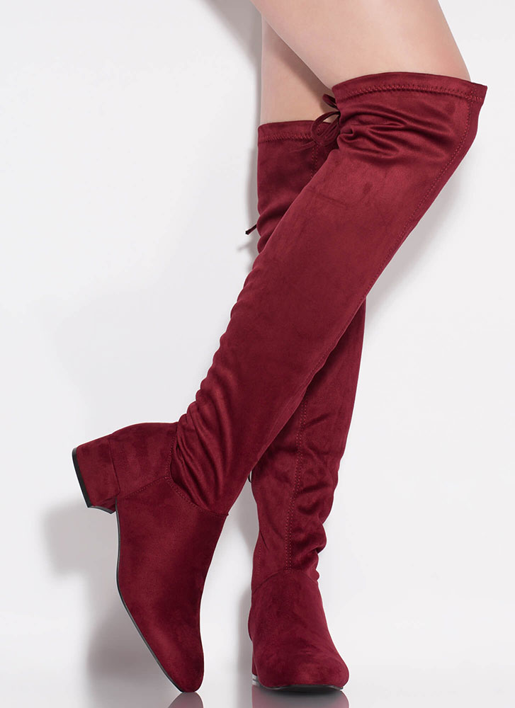 Laced It Block Heel Thigh-High Boots BURGUNDY