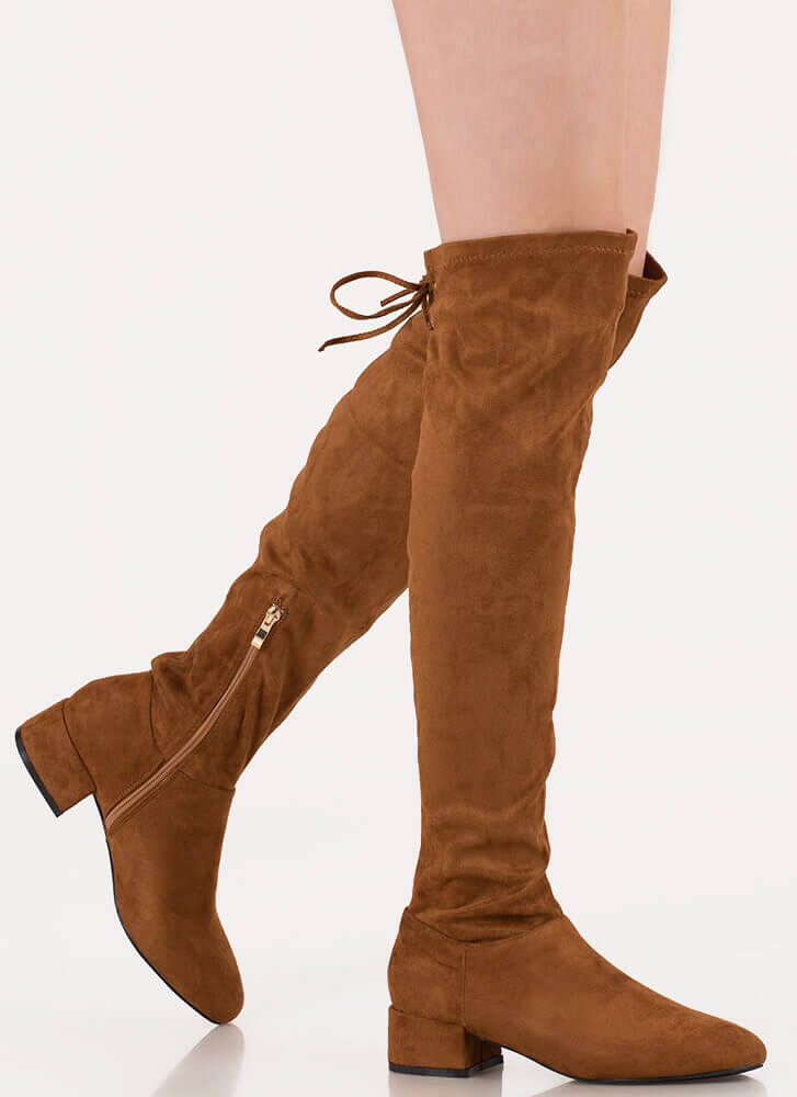 Laced It Block Heel Thigh-High Boots CHESTNUT